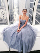 Load image into Gallery viewer, Sparkly Ball Gown Strapless Grey Sweetheart Long Prom Dresses Evening Dresses XHLPST15535