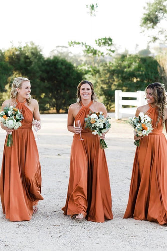 Simple Long Halter Bridesmaid Dresses A-Line Backless Sexy Bridesmaid Dress XHLPST15392