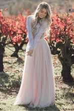 Load image into Gallery viewer, Two Pieces Long Sleeves Lace Appliques Blush Pink Wedding Dresses Beach Wedding Dress XHLPST15538