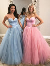 Unique Ball Gown Sweetheart Strapless Tulle Prom Dresses Cheap Formal XHLPST20474