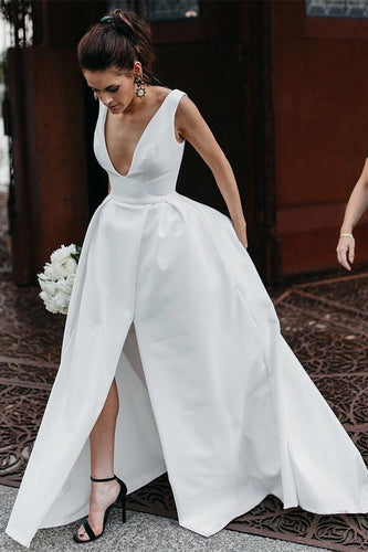 Stunning V-Neck Satin Straps Ivory Wedding Dresses A-line Bridal Gowns with Pockets V Back XHLPST14983