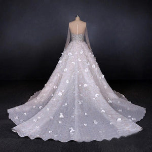 Stunning Long Sleeve Ball Gown 3D Flowers Wedding Dresses Long Wedding Gowns XHLPST15435