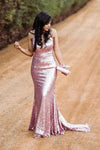 Sparkly Spaghetti Straps Rose Gold V Neck Prom Dresses with Sequins Dance Dresses XHLPST15537