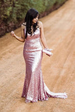 Load image into Gallery viewer, Sparkly Spaghetti Straps Rose Gold V Neck Prom Dresses with Sequins Dance Dresses XHLPST15537