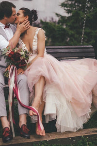 Sheer Round Neck Pink Wedding Dresses Backless Bridal Gown With Lace XHLPST20469