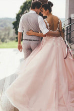 Load image into Gallery viewer, Sheer Round Neck Pink Wedding Dresses Backless Bridal Gown With Lace XHLPST20469
