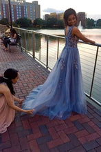Load image into Gallery viewer, Unique Blue Tulle Appliques Beading Prom Dresses Charming Formal Dresses XHLPST15456