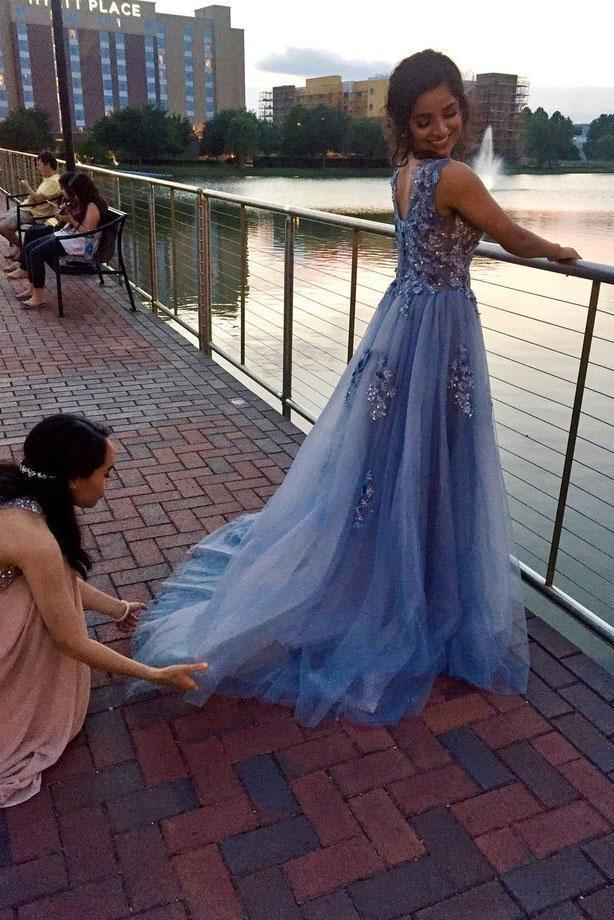 Unique Blue Tulle Appliques Beading Prom Dresses Charming Formal Dresses XHLPST15456