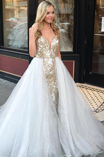 Sheath Spaghetti Straps White Detachable Train Prom Dress with Appliques Quinceanera Dresses XHLPST15373