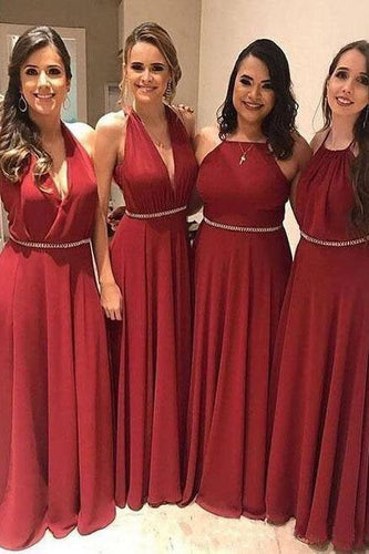 Elegant A Line Chiffon Red Crystal Maid of Honor Bridesmaid Dresses with XHLPST20459