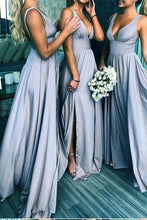 Load image into Gallery viewer, Elegant A Line V Neck Blue Straps Bridesmaid Dresses Wedding Party XHLPST20413