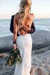 Spaghetti Straps V Neck Lace Wedding Dresses Backless Mermaid Beach Wedding Gowns XHLPST15423