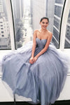 Sparkly Ball Gown Strapless Grey Sweetheart Long Prom Dresses Evening Dresses XHLPST15535
