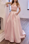 Two Piece Off the Shoulder Blush Pink Prom Dresses with Pockets Long Lace Prom Gowns XHLPST15445