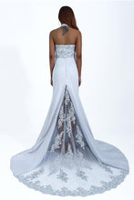 Load image into Gallery viewer, Charming Mermaid Halter Silver Sequins Prom Dresses with Appliques Party XHLPST20401