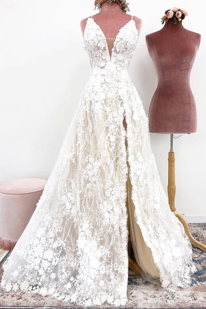 Unique Spaghetti Straps Lace Appliques V Neck Wedding Dresses Long Wedding Gowns XHLPST15466