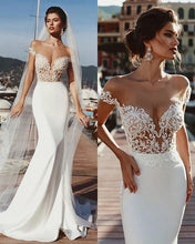 Load image into Gallery viewer, Stunning Mermaid Cap Sleeve Sheer Neck Long Wedding Dresses Beach Wedding Gowns XHLPST15437