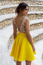 Load image into Gallery viewer, Yellow Floral Satin Illusion Back Daffodil V Neck Homecoming Dresses Short Cocktail Dresses XHLPST14985