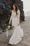 Charming A Line Long Sleeves V Neck Lace Ivory Beach Wedding Dresses Bridal XHLPST20395