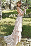 Spaghetti Tired Lace Vintage Wedding Dress with Sweep Train Round Neck Bridal Dresses XHLPST15425