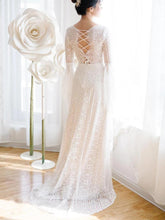 Load image into Gallery viewer, Unique V Neck Lace-up Mermaid Back Bridal Dresses Ivory Lace Trumpet Sleeve Wedding Dresses XHLPST15469