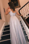 Glitter Silver Long Spaghetti Straps Prom Dresses with V Neck Dance XHLPST20418