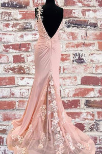Unique Mermaid V Neck Spaghetti Straps Pink Prom Dresses Cheap Party Dress XHLPST15605