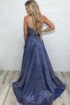 Unique High Slit Deep V Neck Sparkly Halter Prom Dresses Spaghetti Straps Formal Dresses XHLPST15458