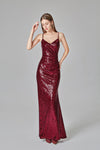 Spaghetti Straps Burgundy Prom Dresses Mermaid Sequins Party Dresses Dance Dresses XHLPST15412