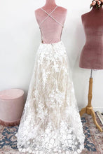 Load image into Gallery viewer, Unique Spaghetti Straps Lace Appliques V Neck Wedding Dresses Long Wedding Gowns XHLPST15466