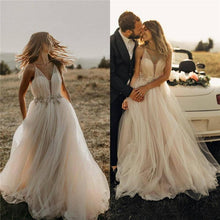 Load image into Gallery viewer, Spaghetti Straps Tulle Deep V-Neck Wedding Dresses Romantic Bohemian Beach Bridal Dress XHLPST15421