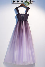 Load image into Gallery viewer, Unique A Line Ombre Purple Beading Prom Dresses with Lace up Long Dance Dresses XHLPST15603
