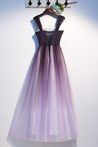 Unique A Line Ombre Purple Beading Prom Dresses with Lace up Long Dance Dresses XHLPST15603