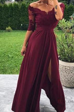 Load image into Gallery viewer, Modest Off the Shoulder Burgundy Bridesmaid Dresses with Slit Prom XHLPST20427