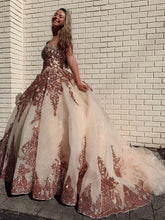 Load image into Gallery viewer, Rosewood Sequins Ball Gown Sweetheart Strapless Quinceanera Dresses with XHLPST20433