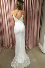 Load image into Gallery viewer, Sexy Mermaid Spaghetti Straps Sequins V Neck Prom Dresses Wedding XHLPST20438