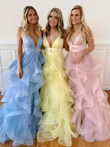 A Line Yellow Multi-layered Polka Dot Organza Prom Dresses Long Sweet 16 XHLPST20388