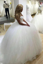 Load image into Gallery viewer, Sparkly Ball Gown Tulle Strapless Ivory Wedding Dresses Long Bridal Dresses XHLPST15429