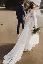 Load image into Gallery viewer, Charming A Line Long Sleeves V Neck Lace Ivory Beach Wedding Dresses Bridal XHLPST20395
