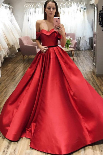 Red Ball Gown Off the Shoulder V Neck Satin Prom Dresses Evening XHLPST20432