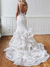 Load image into Gallery viewer, Stunning Mermaid Lace V Neck Backless Wedding Dresses Straps Wedding Gowns XHLPST15438