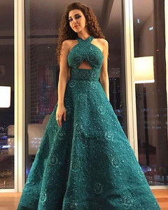 Unique A Line Green Halter Beading Satin Long Prom Dresses Cheap Evening Dresses XHLPST15451