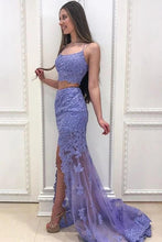 Load image into Gallery viewer, Elegant Two Pieces Mermaid Lilac Lace Slit Long Prom Dresses Formal XHLPST20417