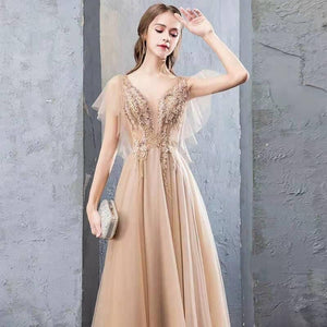 A Line V Neck Tulle Long Prom Dresses Cheap Evening Dress with XHLPST20488