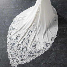 Load image into Gallery viewer, Spaghetti Straps Lace Open Back Mermaid Off White Wedding Dresses Bridal Dresses XHLPST15416