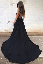Load image into Gallery viewer, Simple Deep V Neck Black Backless Prom Dresses with Pockets Long Formal Dresses XHLPST15390