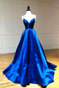 Simple A Line Satin Spaghetti Straps Royal Blue Long V Neck Prom XHLPST20441