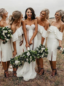 Simple Off the Shoulder White Short Bodycon Bridesmaid Dresses Prom XHLPST20487
