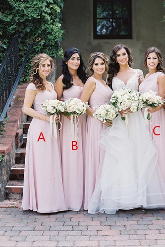 Simple Pink Mismatched A-Line Bridesmaid Dresses Elegant Chiffon Bridesmaid Dress XHLPST15397