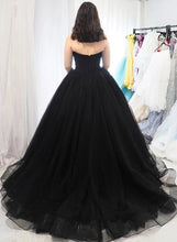 Load image into Gallery viewer, Sweetheart Tulle Ball Gown Black Formal Prom Dresses Sleeveless Lace up Evening Dresses XHLPST15442